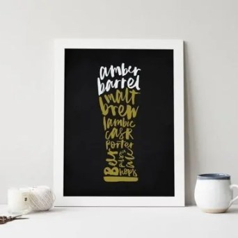 Printable Beer Art from SaltAndCove on Esty. Starts at $15   Super-Last-Minute Gifts for Beer Lovers   BottleMakesThree.com