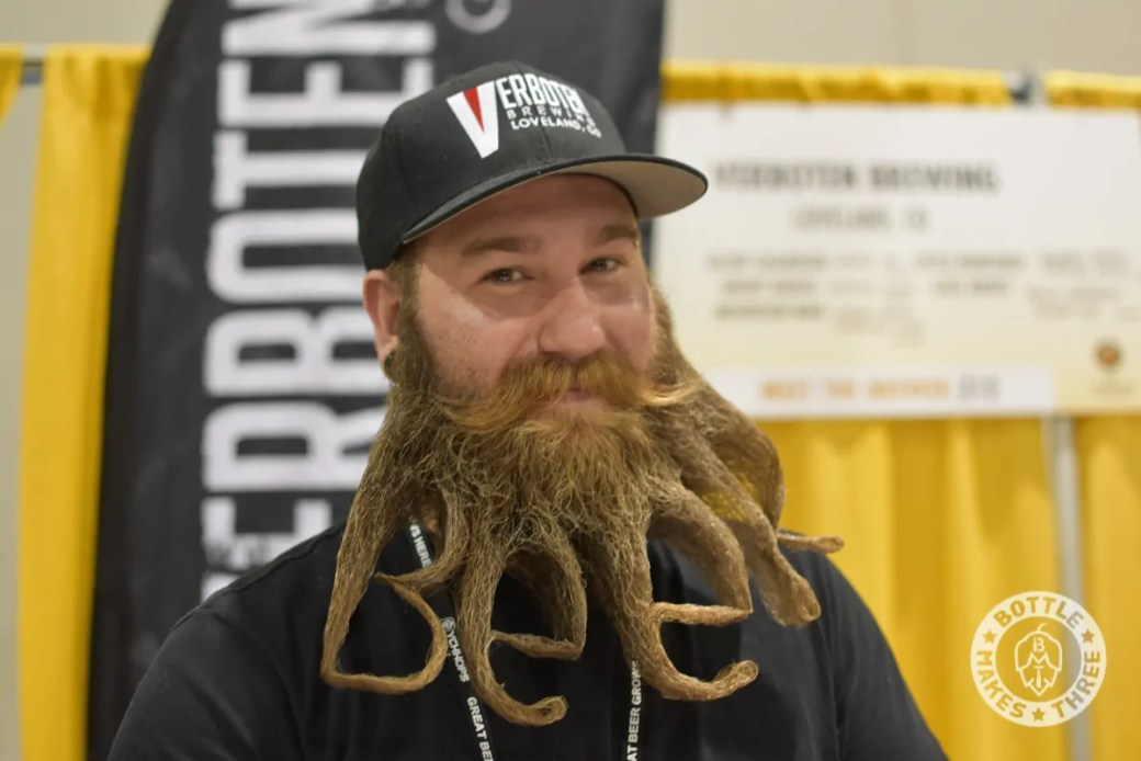 While at GABF, make sure you stop by the Verboten Brewing booth. Not only is the beer great, but the beard stylings of Verboten brewer Eric are pretty awesome, too. | BottleMakesThree.com