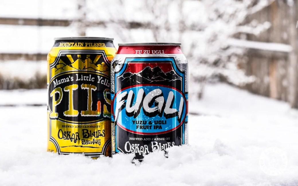 Oskar Blues Brewery's FUGLI Yuzu & Ugli Fruit IPA and Mama's Little Yella Pils.
