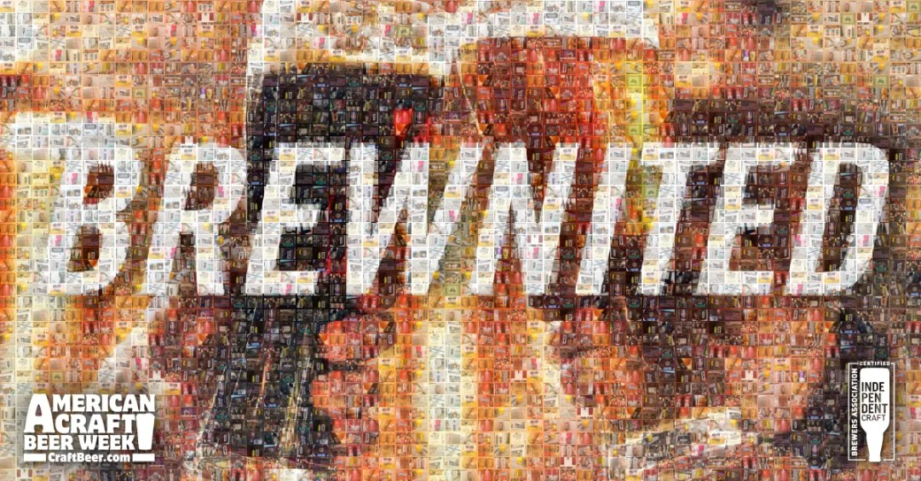 Brewnited, a mosaic created by CraftBeer.com that displays American beer bottles & cans that that display the independent craft brewer seal. Part of their celebration of American Craft Beer Week (ACBW), May 14-20, 2018