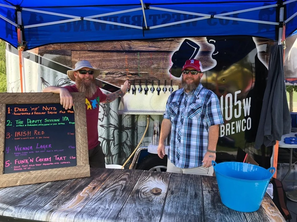 Alex and Jeff are ready to pour you some 105 West Brewing Company beer in Castle Rock, Colorado.