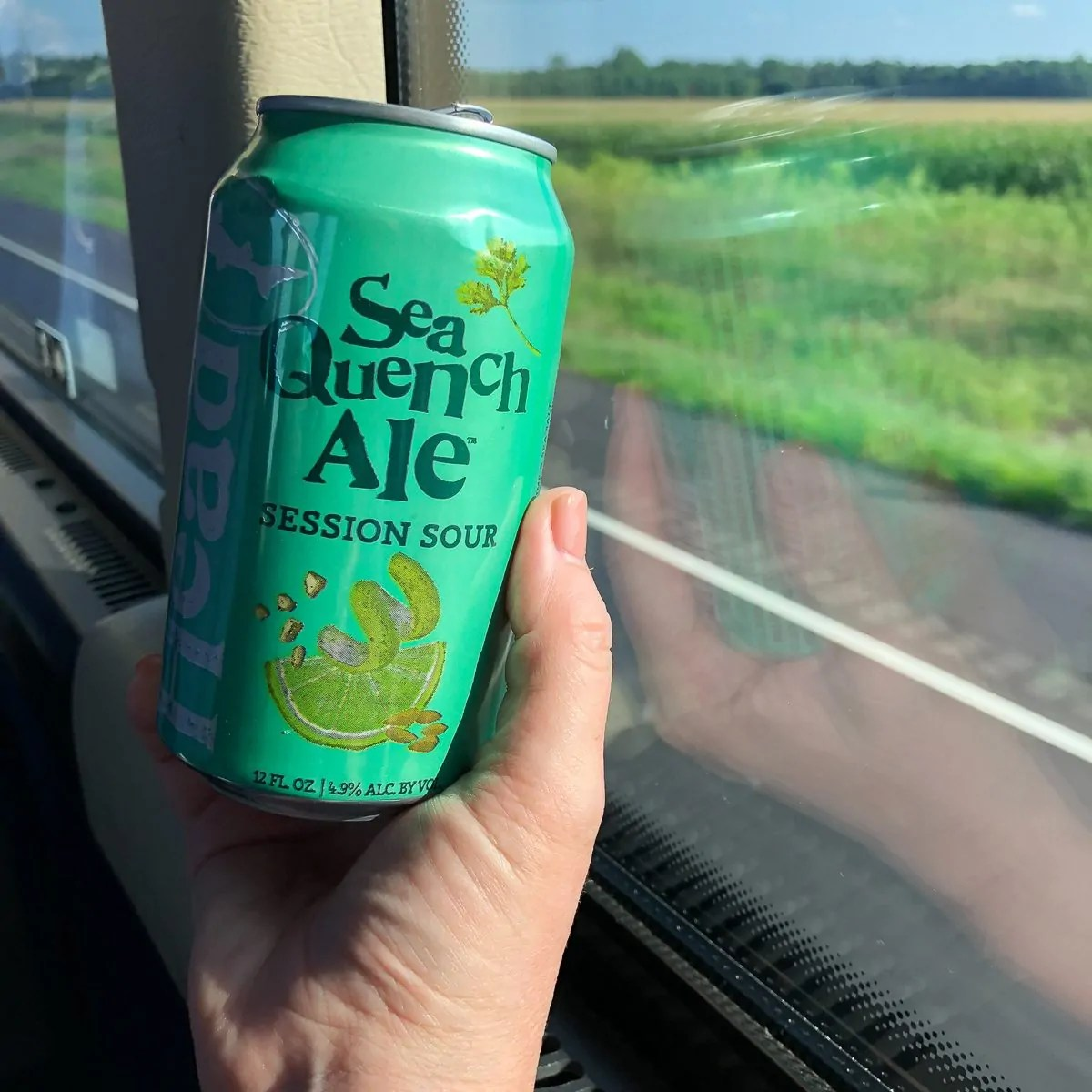 Enjoying a little Sea Quench Ale while on the road to Dogfish Head Brewery in Milton, Delaware