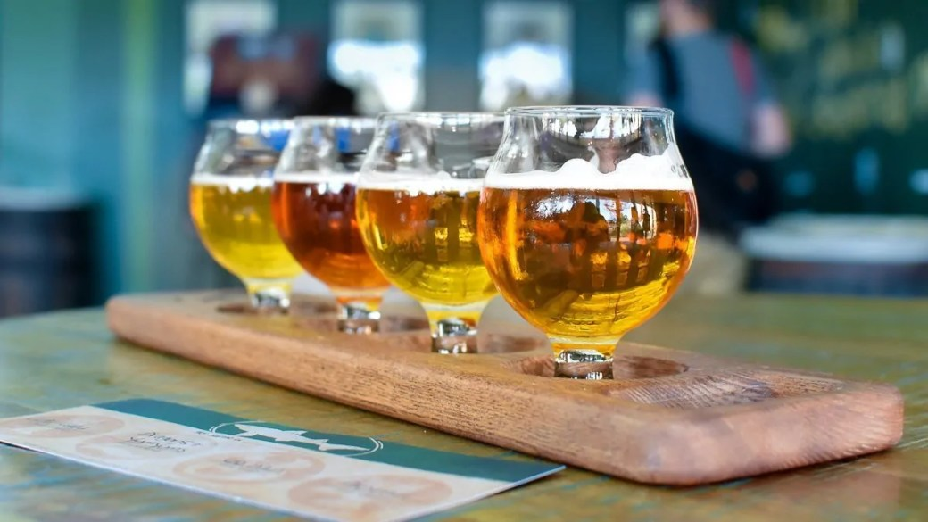 Sampling beer at the Dogfish Head Brewery in Milton, Delaware