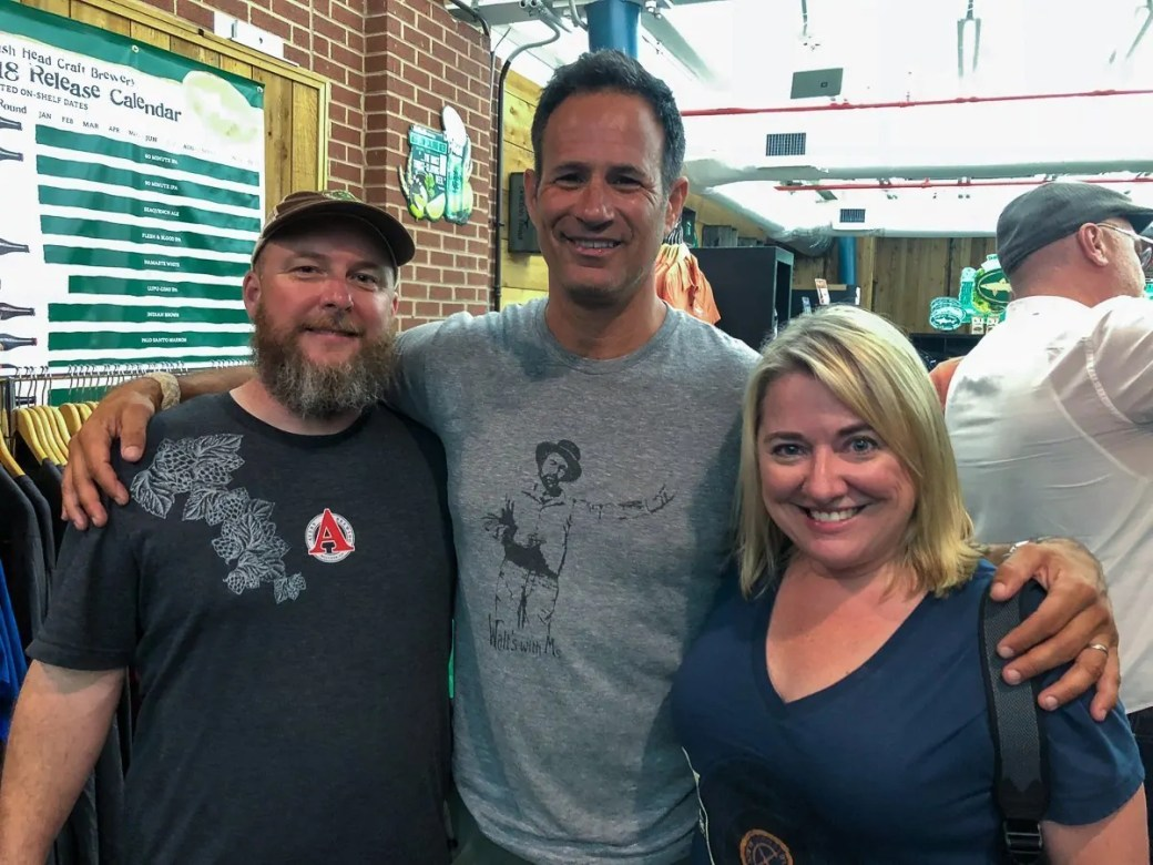 Jeff & Chris of Bottle Makes Three with Sam Calagione at the Dogfish Head Brewery in Milton, Delaware.
