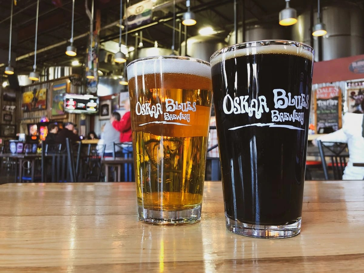 Beers at Oskar Blues Brewery's Tasty Weasel taproom in Longmont, Colorado