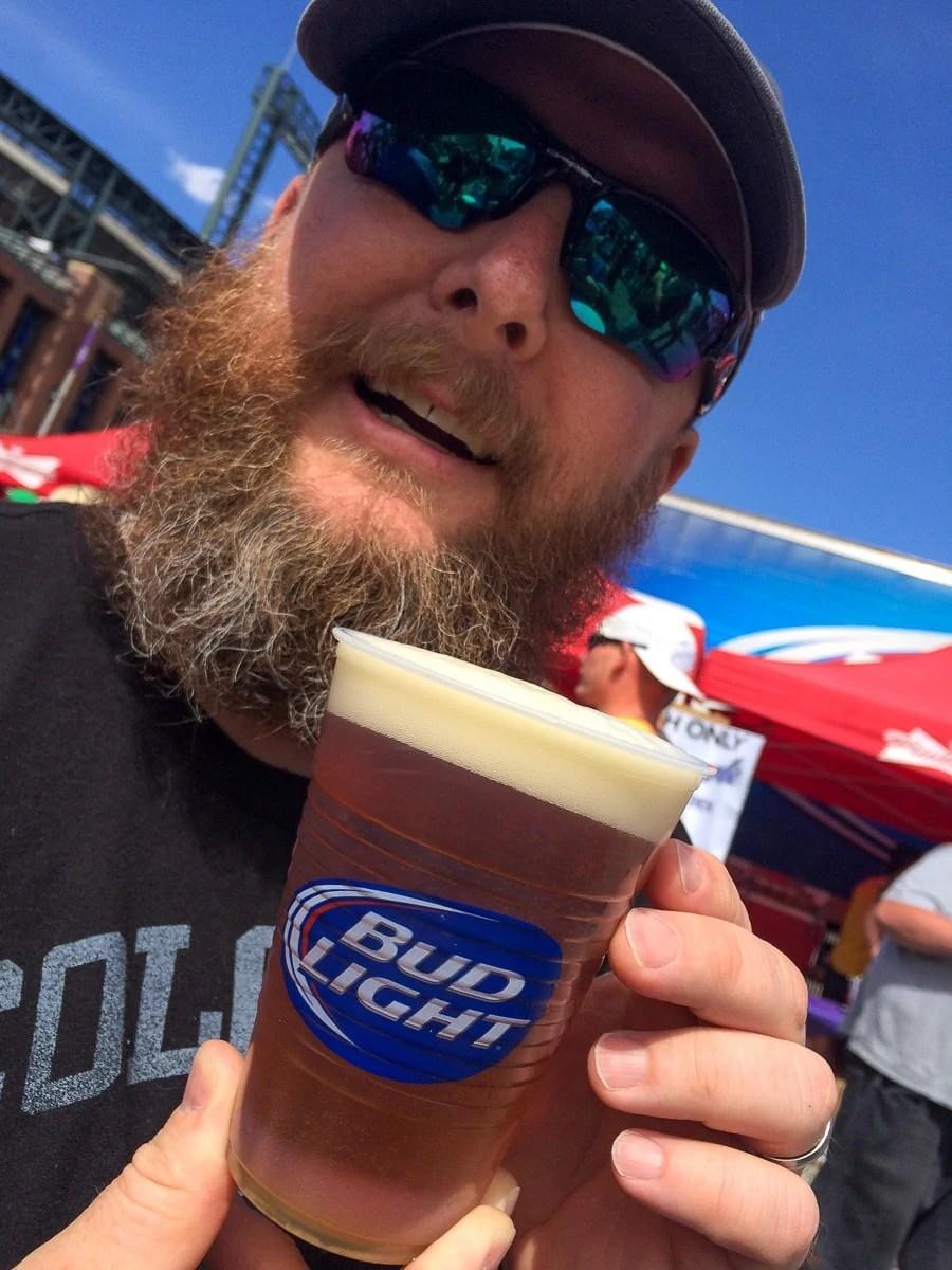 Colorado Rockies Home Opener, drinking a Bud Light