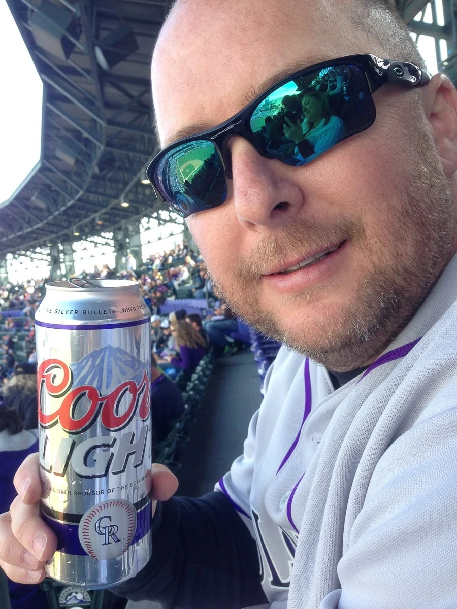 Colorado Rockies Home Opener, enjoying a Coors Light at Coors Field