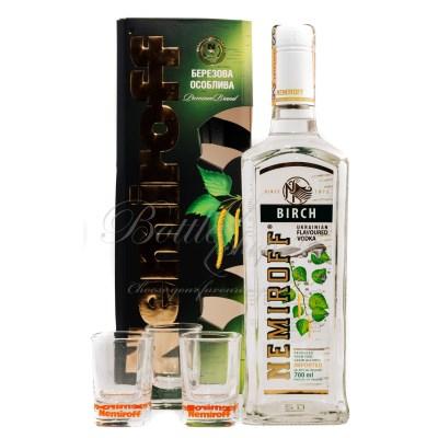 Nemiroff Birch Flavoured vodka + 3 shot poháre