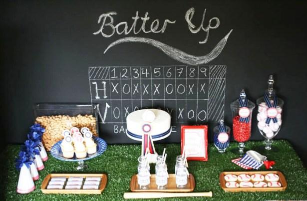 Baseball Theme Birthday Party Ideas and Inspiration Baseball Party Dessert Table, from Mon Tresor, Amy Atlas