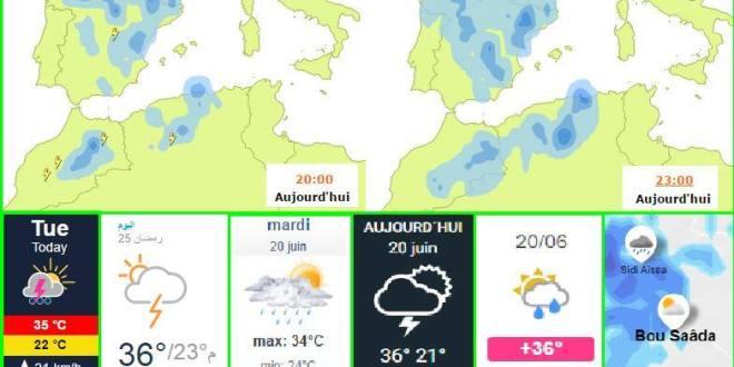احوال الطقس توقعات يوم الثلاثاء 20 جوان 2017