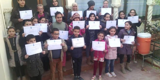 """تكريم الأطفال المشاركين في برنامج """"كويزيتو"""" في جمعية عيسى بسكر لرعاية ثقافة الطفل."""