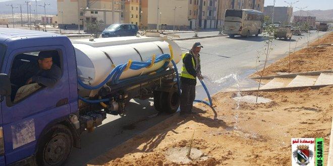 عمال بلدية بوسعادة يواصلون عملهم اليومي في النظافة وسقى الشجيرات