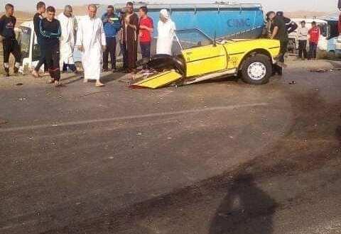 حادث مرور آخر ببلدية بن سرور بين سيارة أجرة وشاحنة يخلف قتيلان