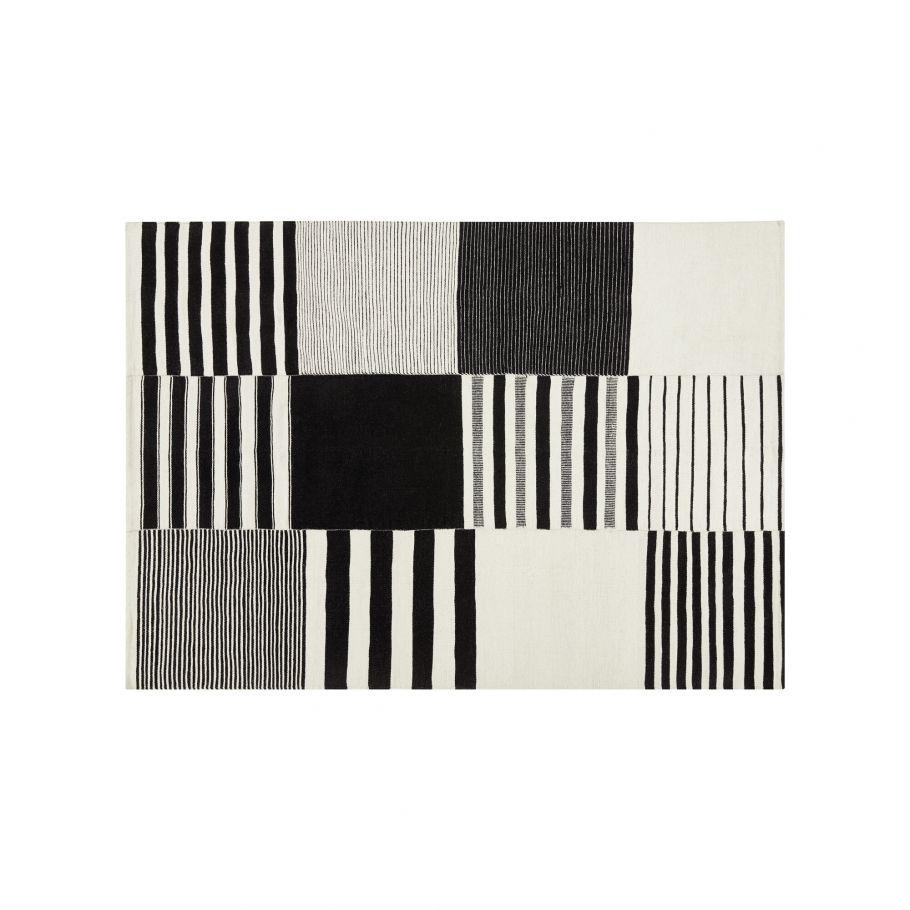 grand tapis en laine et coton a mosaique graphique