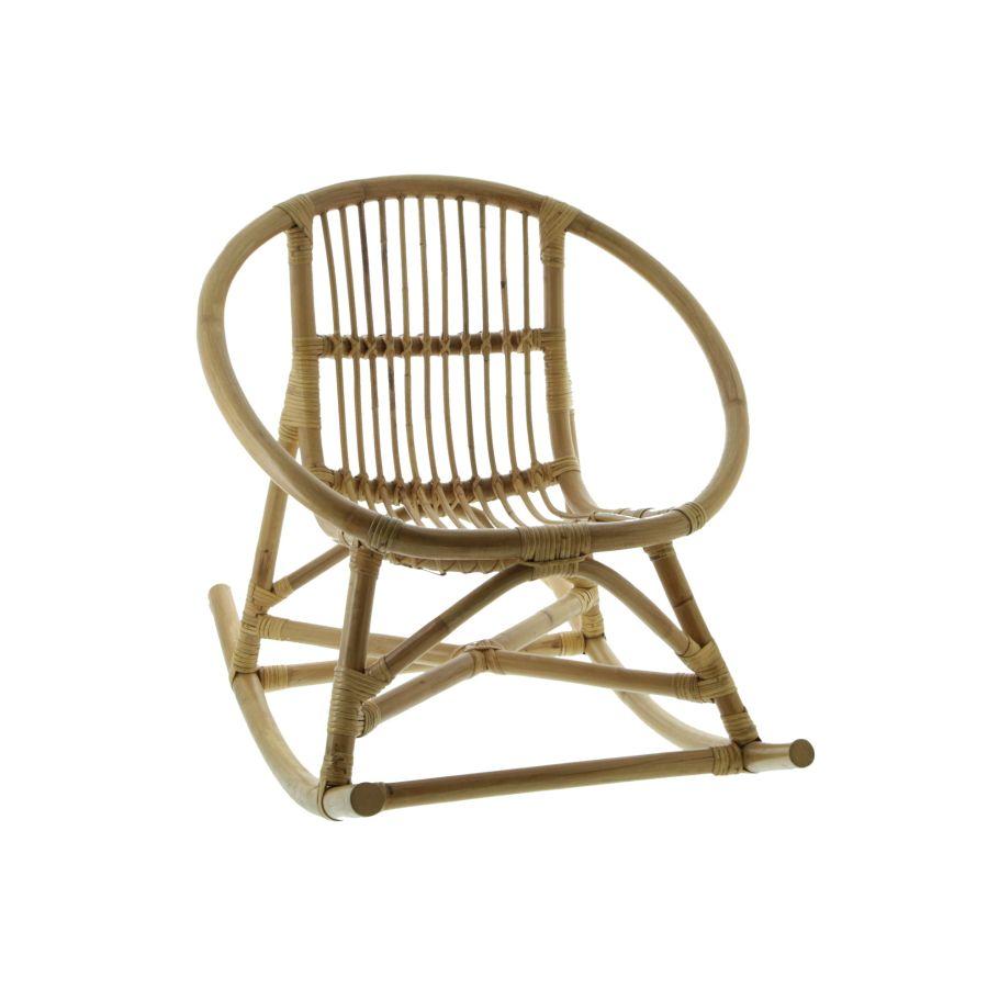 fauteuil a bascule pour enfant en rotin naturel