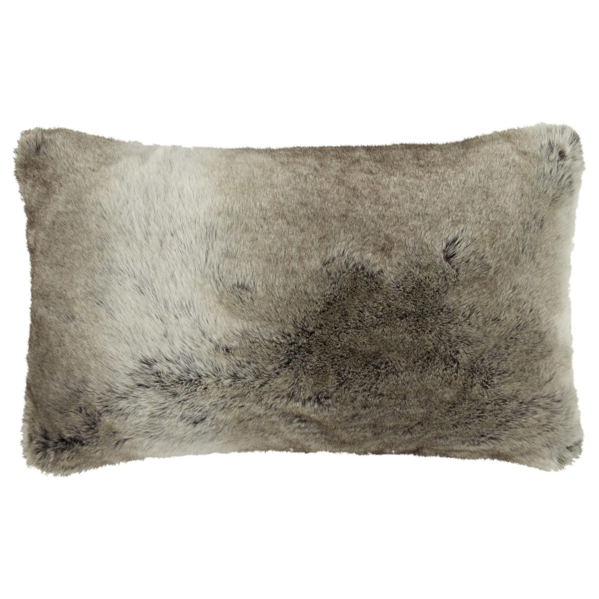 wolf faux fur decorative lumbar pillow 14 x 22