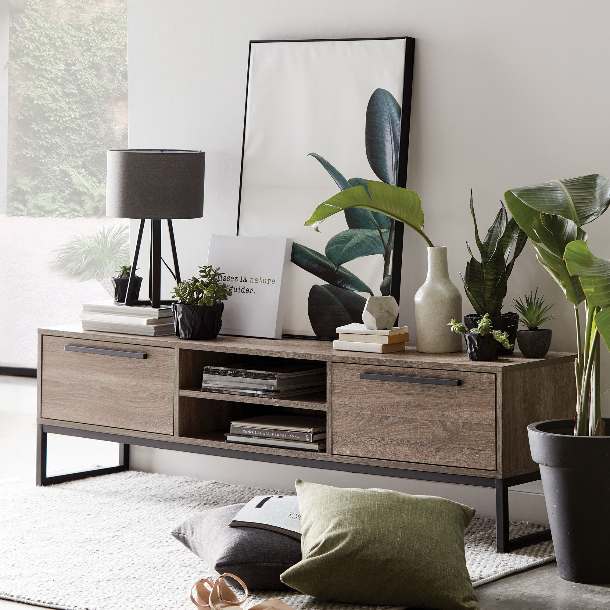 living room media furniture gray paint for small wood veneer metal console bouclair com