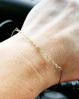 Bracelet fin et léger plaqué or et argent