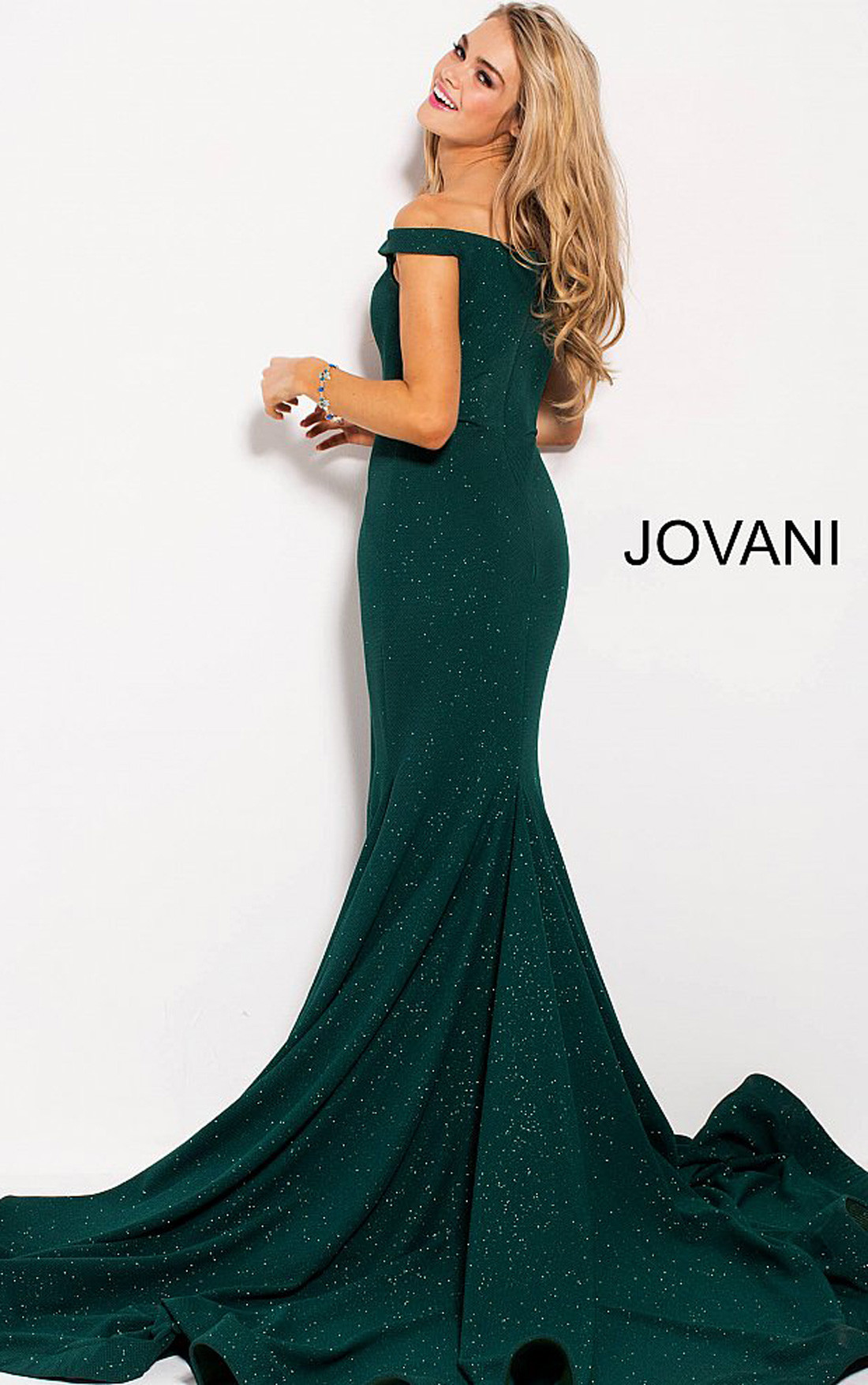 Jovani Dresses  Womens Hunter Glitter Off the Shoulder Sweetheart Neck Dress  Womens Dresses