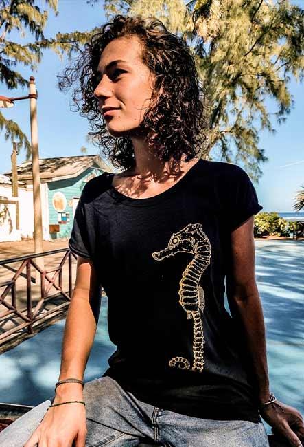 T-shirt Hippocampe - Sérigraphie artisanale - Saint-Leu île de la Réunion - Coton 100% Biologique - Équitable - Bouftang Art