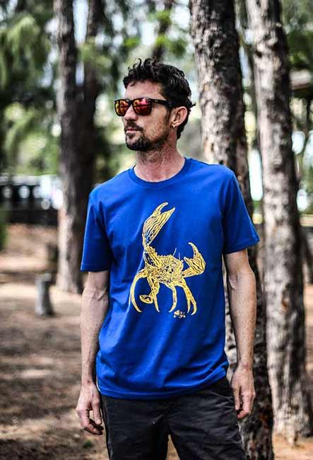 Tee-Shirt Krab - Sérigraphie artisanale - Saint-Leu île de la Réunion - Coton 100% Biologique - Équitable - Bouftang Art