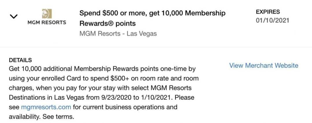 MGM amex offer