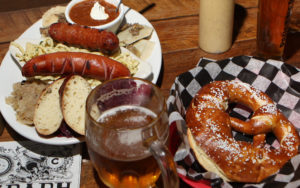 A platter of beer-friendly treats at the Bohemian Biergarten in Boulder.