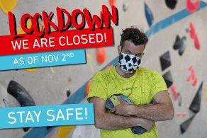 Vorläufige Hallenschließung der Boulderwelt ab Montag 2.11. aufgrund des zweiten Corona Lockdowns.