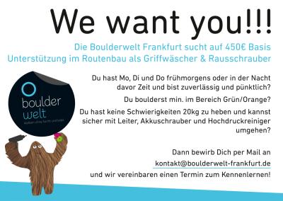 Stellenausschreibung Griffwäscher und Rausschrauber Boulderwelt Frankfurt