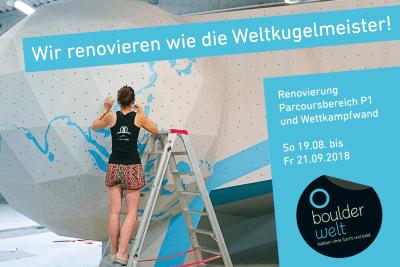 Renovierung der Wände des Parcoursbereichs P1 und Wettkampfwand in der Boulderwelt Frankfurt