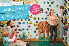 Boulderwelt Jahreskartenaktion für Familien, Kinder Jahreskarte geschenkt