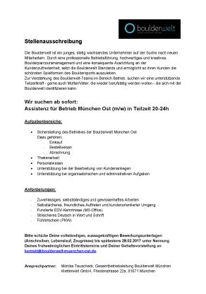 Stellenausschreibung Assistenz der Betriebsleitung / Boulderwelt München Ost