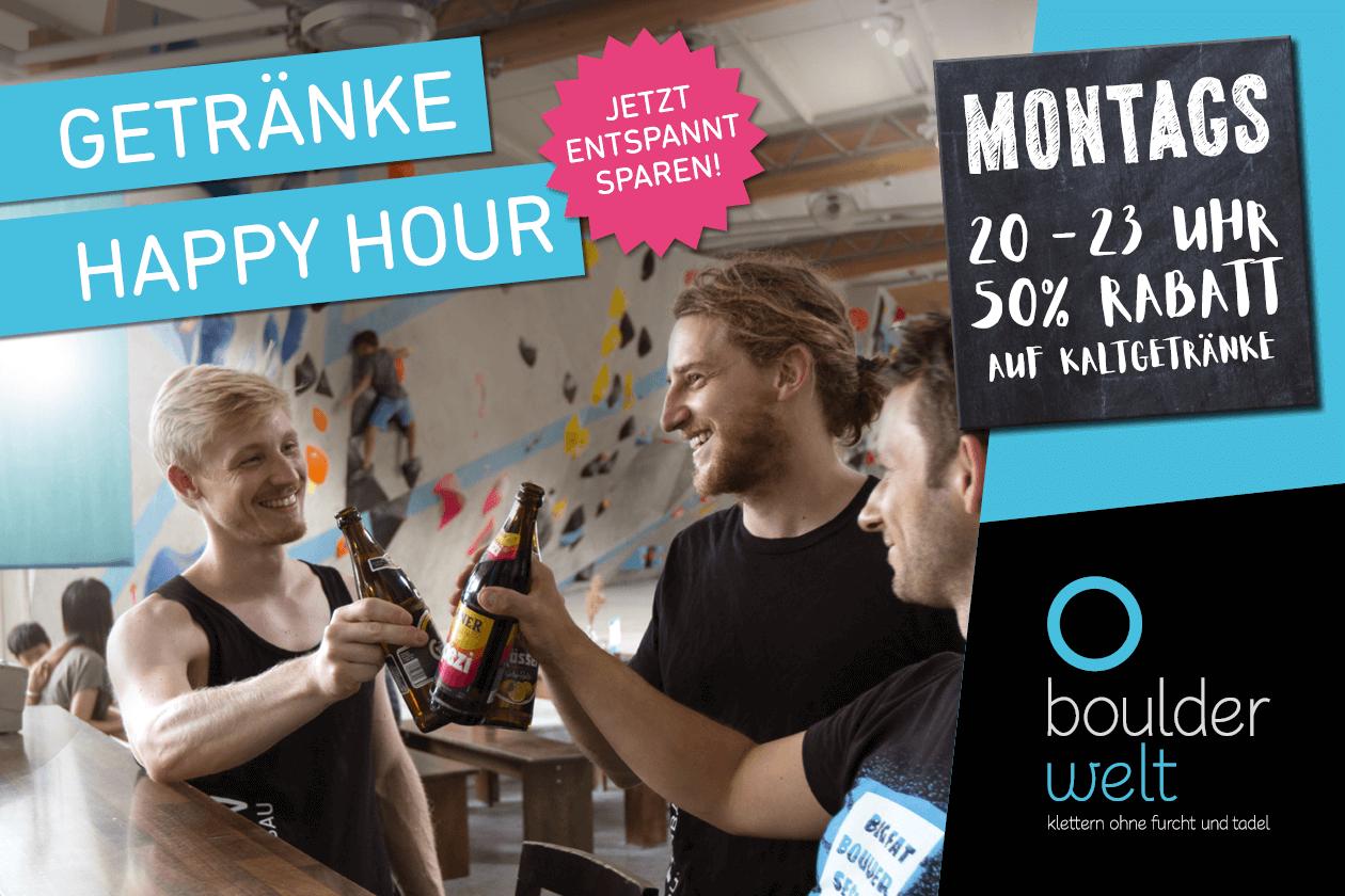 Ab sofort jeden Montag zwischen 20 und 23 Uhr Happy Hour im Boulderwelt Bistro - 50% auf Kaltgetränke!