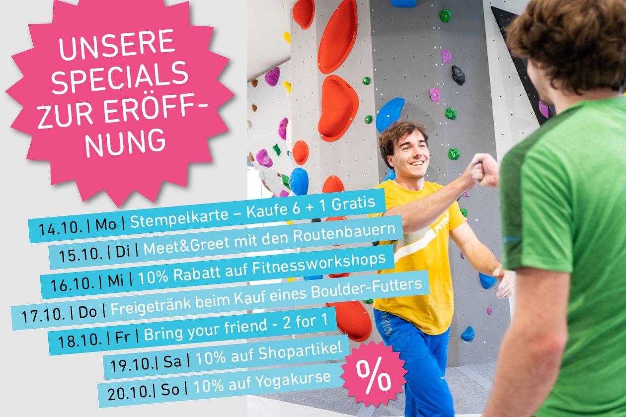Aktionswoche zur Eröffnung der neuen Boulderwelt München Ost vom 14. - 20.10.19