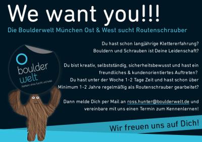 Stellenausscrhreibung Job Routenbau Routenschrauber Boulderwelt München