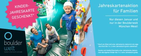 Kauf eine Boulderwelt Jahreskarte und bkomm eine Kinder Jahreskarte gratis obendrauf.