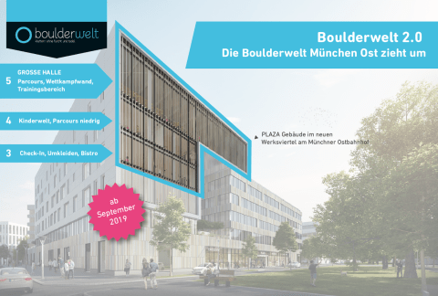 Boulderwelt 2.0 - Boulderwelt München Ost zieht 2019 um. Eine Infografik.