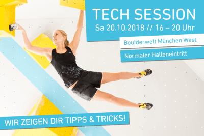 Tech Session am 20.10.2018 in der Boulderwelt München West