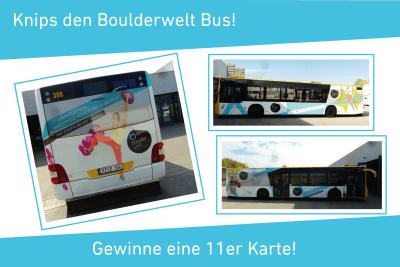 Gewinnspiel: Fotografiere den Boulderwelt Bus und gewinne eine 11er Karte.