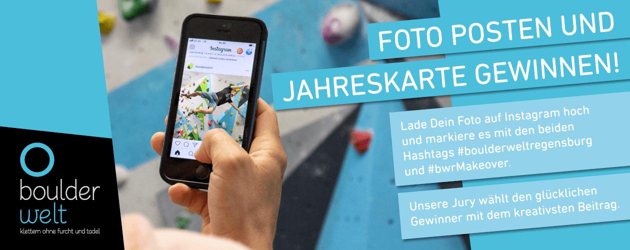 Instagram Gewinnspiel der Boulderwelt Regensburg mit dem #bwrMakeover