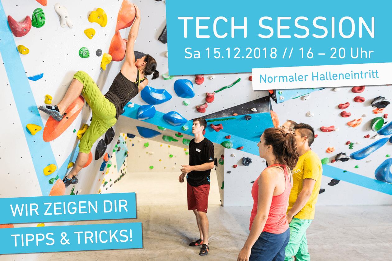Erste Tech Session mit Stationen zu Bouldertechniken in der Boulderwelt Regensburg