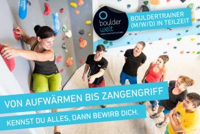 Boulderwelt sucht ab sofort einen Bouldertrainer (m/w/divers) in Teilzeit (21 – 24h/Woche).