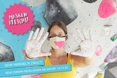 Neue Corona Regelungen ab 15.10.20 in der Boulderwelt Regensburg. Ab sofort gilt es MASKE TRAGEN ÜBERALL außer an der Wand. Mehr dazu im Artikel.