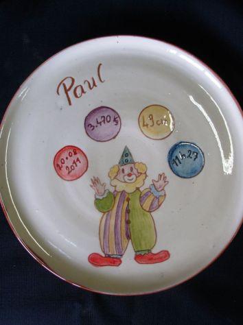 assiette personnalisée Clown Paul