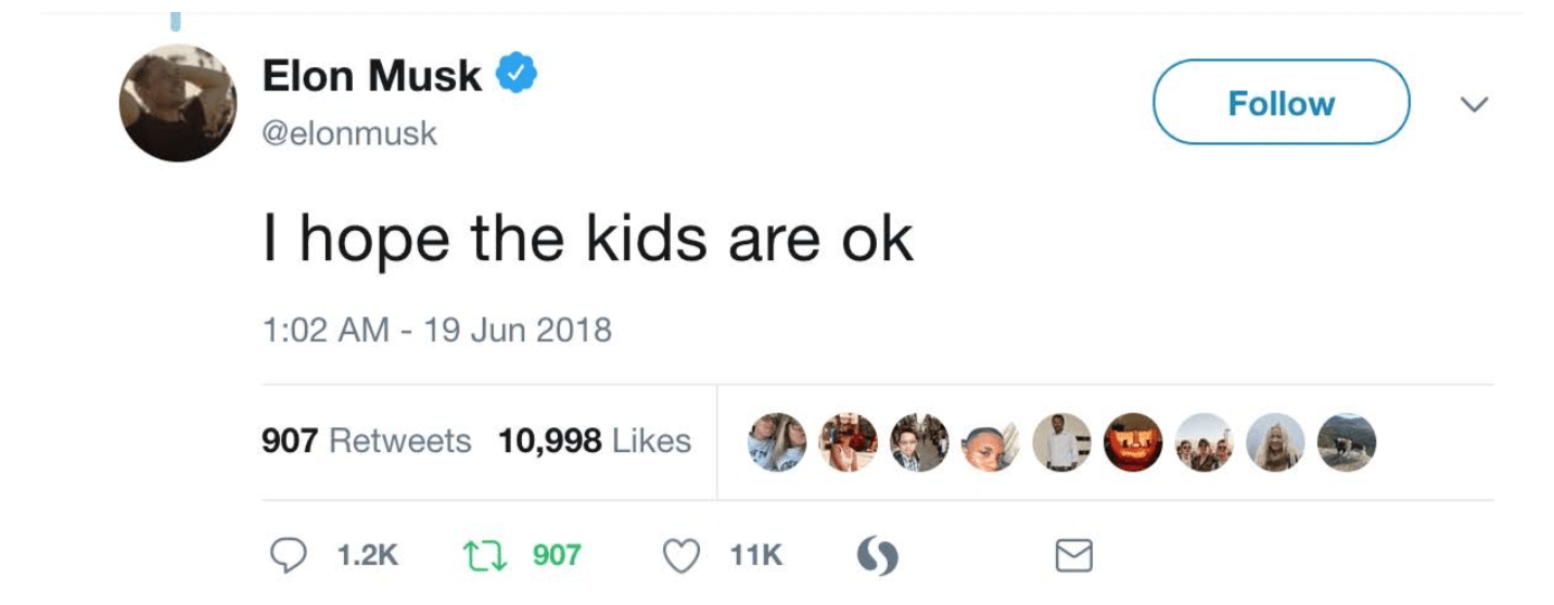 Figure 4. Elon Musk makes non-committal remarks on the situation of migrant children placed in detention, removed from parents and, in some cases, housed in cages and pens, under Trump Administration policy. In subsequent tweets, he defends his tweet by stating that he is one of the ACLU's top donors (Musk, 2018)
