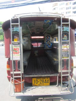 Impressions of Chiang Mai - Back of Song Thaew - Red Truck Taxi
