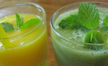 Smoothies at AUM Vegetarian Restaurant in Chiang Mai, Thailand