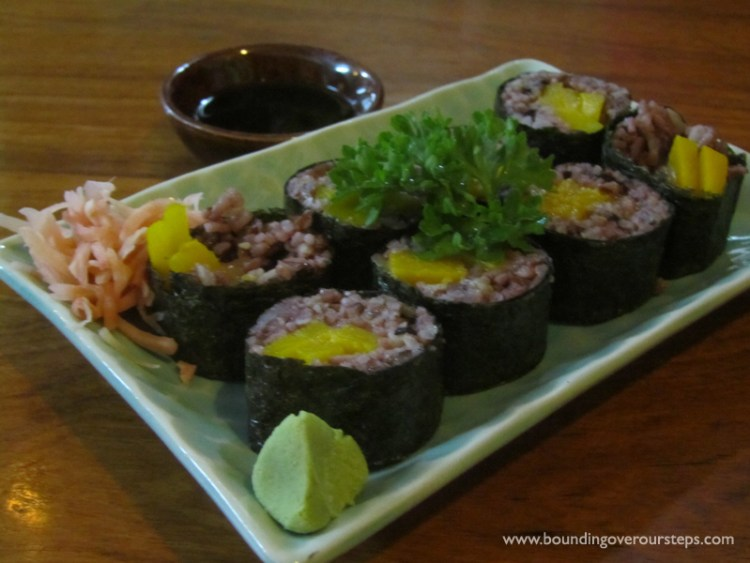 Delicious pumpkin sushi at AUM Vegetarian Restaurant in Chiang Mai, Thailand