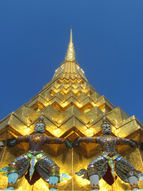 Monkey statues on Golden Stupa at the Golden Palace in Bangkok, Thailand