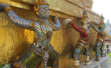 Monkey statues at the Grand Palace in Bangkok, Thailand